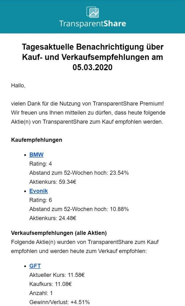 TransparentShare - E-Mail Benachrichtigung - Welche Aktie kaufen